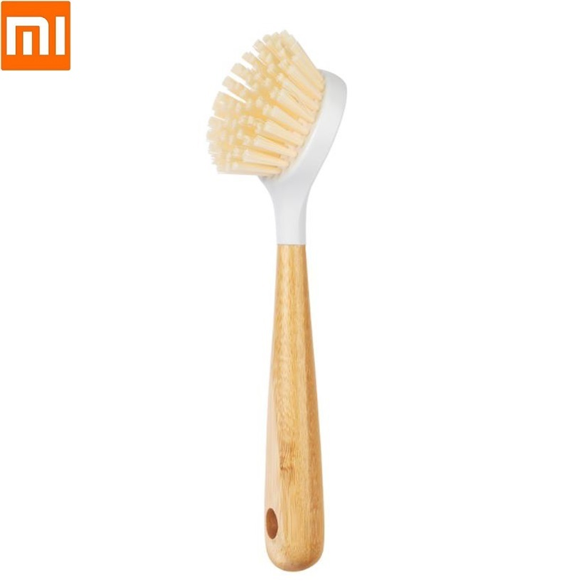Xiaomi Household Bamboo Long Handle Pot Brush Kitchen Cleaning Brush Strong Decontamination Durable