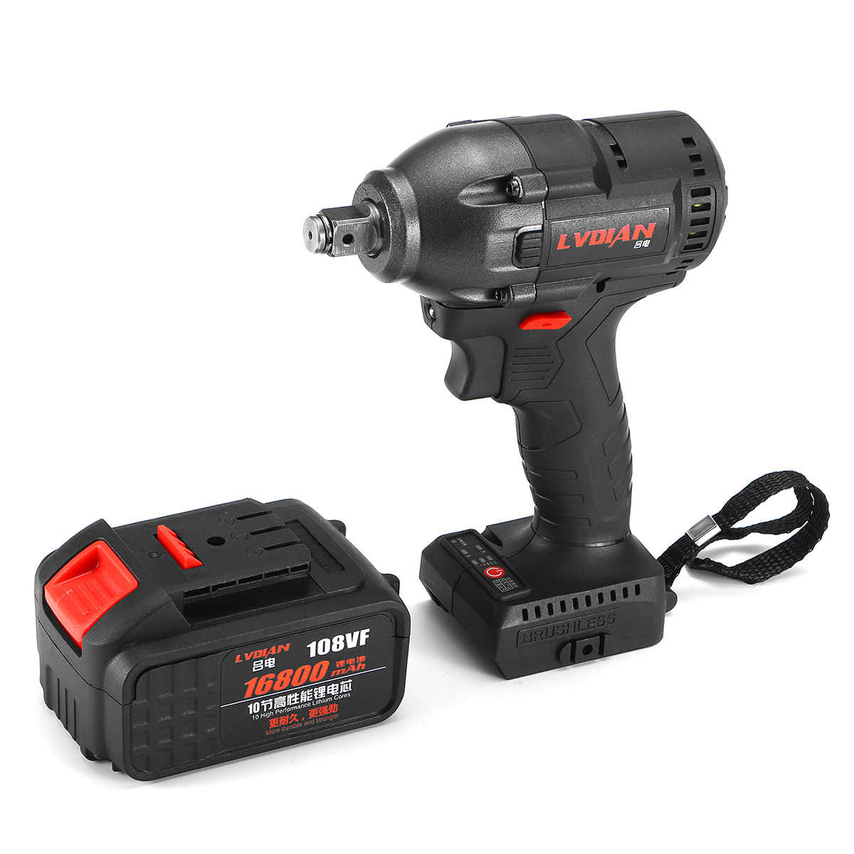 Electric Impact Wrench 330Nm Infinitely Cordless Speed Brushless Motor Electric Wrench Rechargeable Lithium Battery for DIY Home