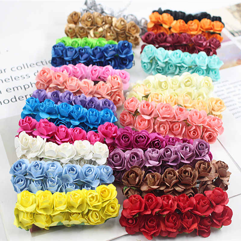 12PCS / lot 1.5 cm artificial small paper rose handmade party supplies wedding car decoration Artificial flower