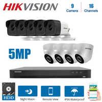 Rede hikvision 16 canais dvr vídeo vigilância com 9 pces 5mp câmera de visão noturna cctv sistema segurança kits