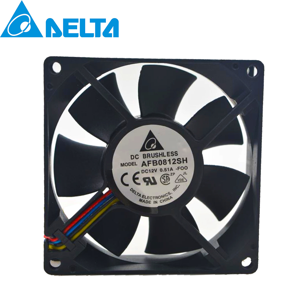 For Delta AFB0812SH 8025 DC 12V 0.51A High- Speed Air Volume PWM Ball Bearing Fan 8CM 80*80*25 80MM