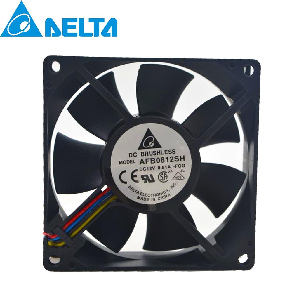 For Delta AFB0812SH 8025 DC 12V 0.51A High- Speed Air Volume PWM Ball Bearing Fan 8CM 80*80*25 80MM