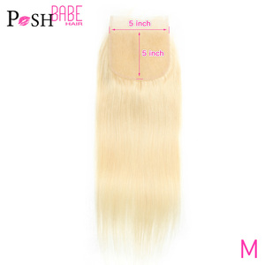 POSH BABE 5x5 Lace Closure 8 - 22 Inch Brazilian Hair Weave Straight Remy Human Hair Extensions 613 Honey Blonde Colored Closure(China)
