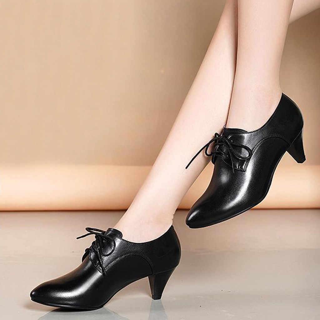 2018 neue Frauen Pumps Schwarz High heels 5,5 cm Dame Patent leder Dick mit Herbst Zeigte Einzelne Schuhe Weiblichen Sandalen große 35-40