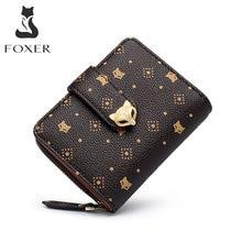 FOXER женский модный маленький кошелек из ПВХ кожи, большой объем, слот для карт, Женский карман для монет, двойной клатч, сумка для денег, держа...