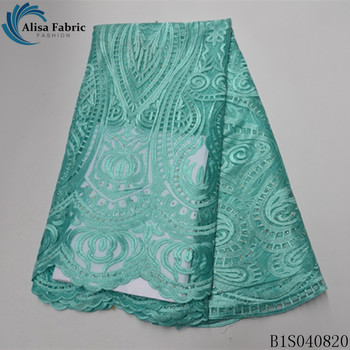 Alisa mint green african lace fabric embroidery with beads and stones 5 yards/pcs french net laces mesh fabrics for dress sewing