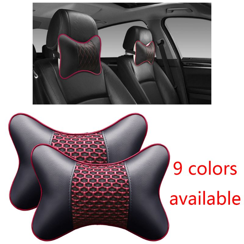 2pcs Artificial Leather Car Pillow Protection Neck Car Headrest Comfortable Auto Supplies Safety Breathable Neck Pillows
