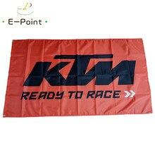 Não shipt ot eua ktm pronto para correr bandeira 2ft * 3ft (60*90cm) 3ft * 5ft (90*150cm) tamanho decorações de natal para bandeira de casa