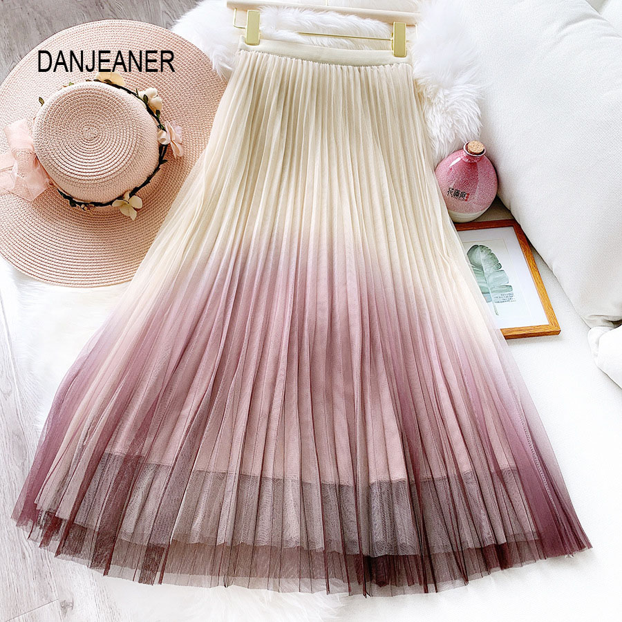 DANJEANER Gradient Color Women Tulle Skirt 2020 Spring Summer High Waist Pleated Skirts Casual Streetwear Mid Calf Mesh Skirts