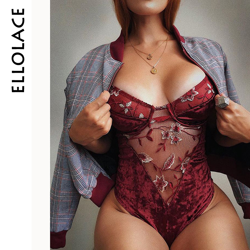 Ellolace Lace Velvet Flower Embroidery Bodysuit Women Mesh Body Fashion Patchwork Transparent Ladies Fitness Cami Sexy Bodysuit