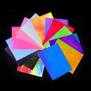 Image 5 - 16 Tờ/Bộ Aurora Ngọn Lửa Miếng Dán Móng Tay Toàn Phương Nhiều Màu Sắc Lửa Phản Xạ Tự Dán Các Lá Tự Làm Móng Tay Nghệ Thuật Trang Trí miếng Dán Kính Cường Lực