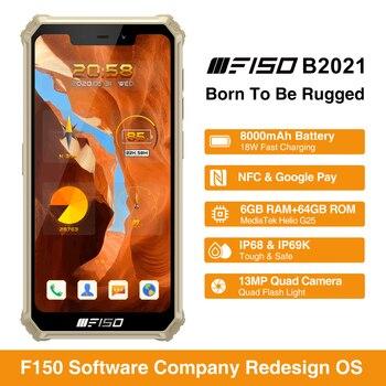 F150 B2021 6GB+64GB IP68 Waterproof Rugged Smartphone 8000mAh 5.86'' Helio G25 Octa Core 13MP Quad Camera Mobile Phone 2