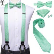 Hi-Tie Silk Woven Men Suspender Bowtie Neck Tie Hankerchief Cufflinks Set 6 Clips Vintage Mens Braces High Quality Wedding Work