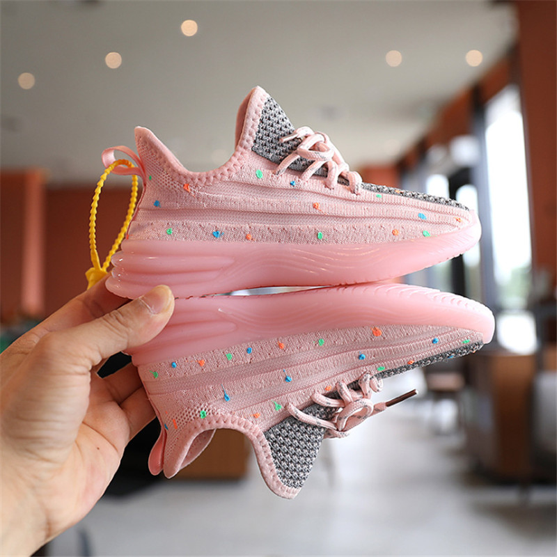 2020 Autumn Children Shoes Girls Sport Shoes Fashion Casual Soft Knitting Breathable Kids Sneakers Glow In The Dark
