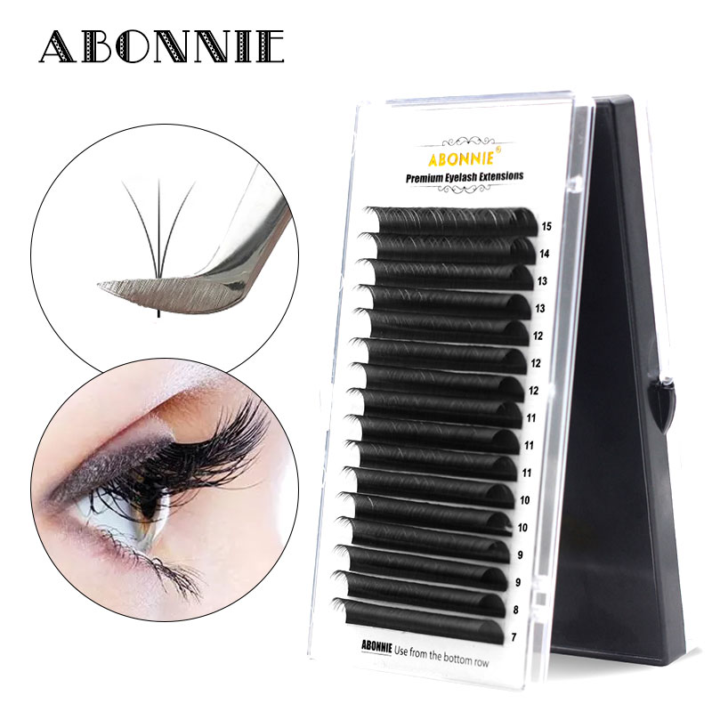 Abonnie All Size 16rows Eyelash Extension 1case C/D Curl 0.05/0.07/0.10/0.15/0.20/0.25mm Mink Black Fake False