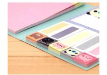 2Pcs Pocket Sticky Notes Marker Flags Bookmark Memo Point It Cute Animals Mini Stikers