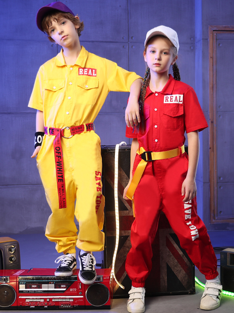 Boys Jumpsuit Rompers Jazz Dance Costume Boys Hip Hop Jumpsuit Children'S Performance Clothes Kids Street Dance Loose Tra