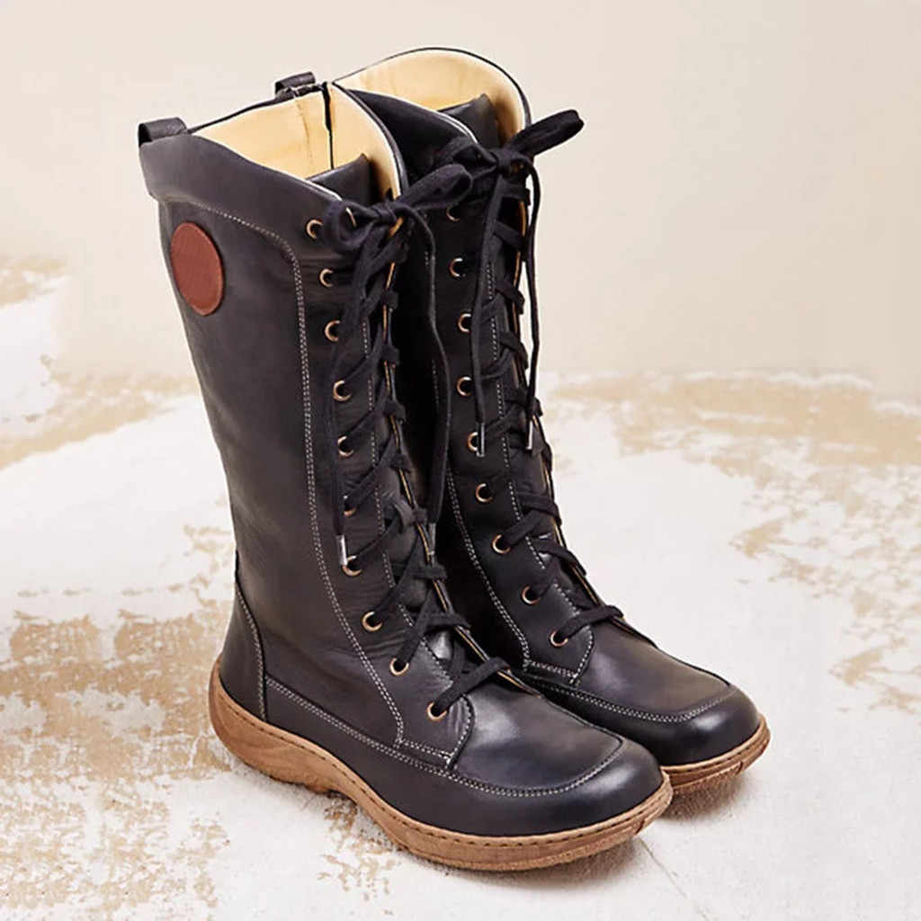 Women's shoes Women High Boots Ladies Knee High Boots Flat Zipper Lace Up Shoes Fashion Casual Round Toe boots botas mujer #1010
