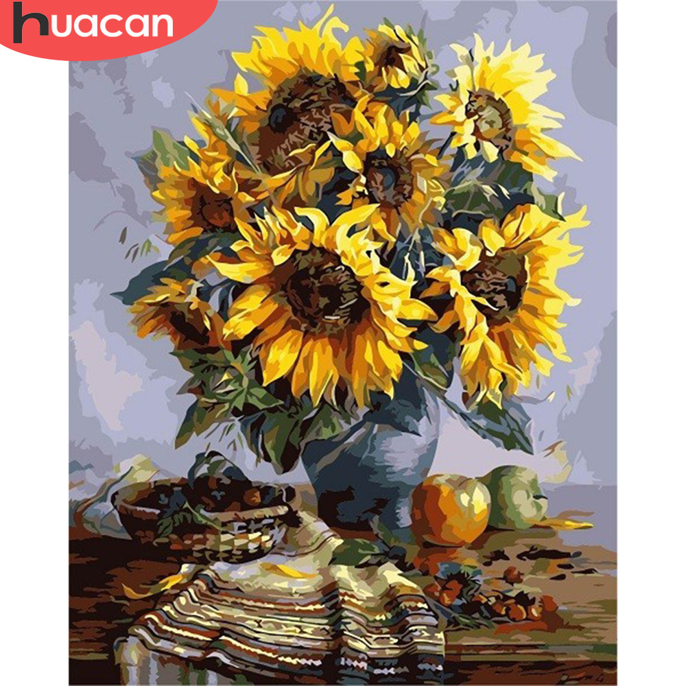 HUACAN Painting By Number Sunflower Kits Drawing Canvas HandPainted Oil DIY Pictures By Numbers Home Decoration