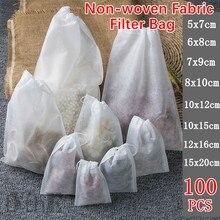 100 sacos de filtro de chá dos pces da tela do produto comestível não-tecido para o infuser do chá da especiaria com a corda cura filtros da especiaria do selo teabags