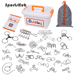 30PCS/Set Metal Wire Puzzle IQ Mind Brain Teaser Puzzles Game Adults Children Kids Montessori Early Educational Toys TH0072