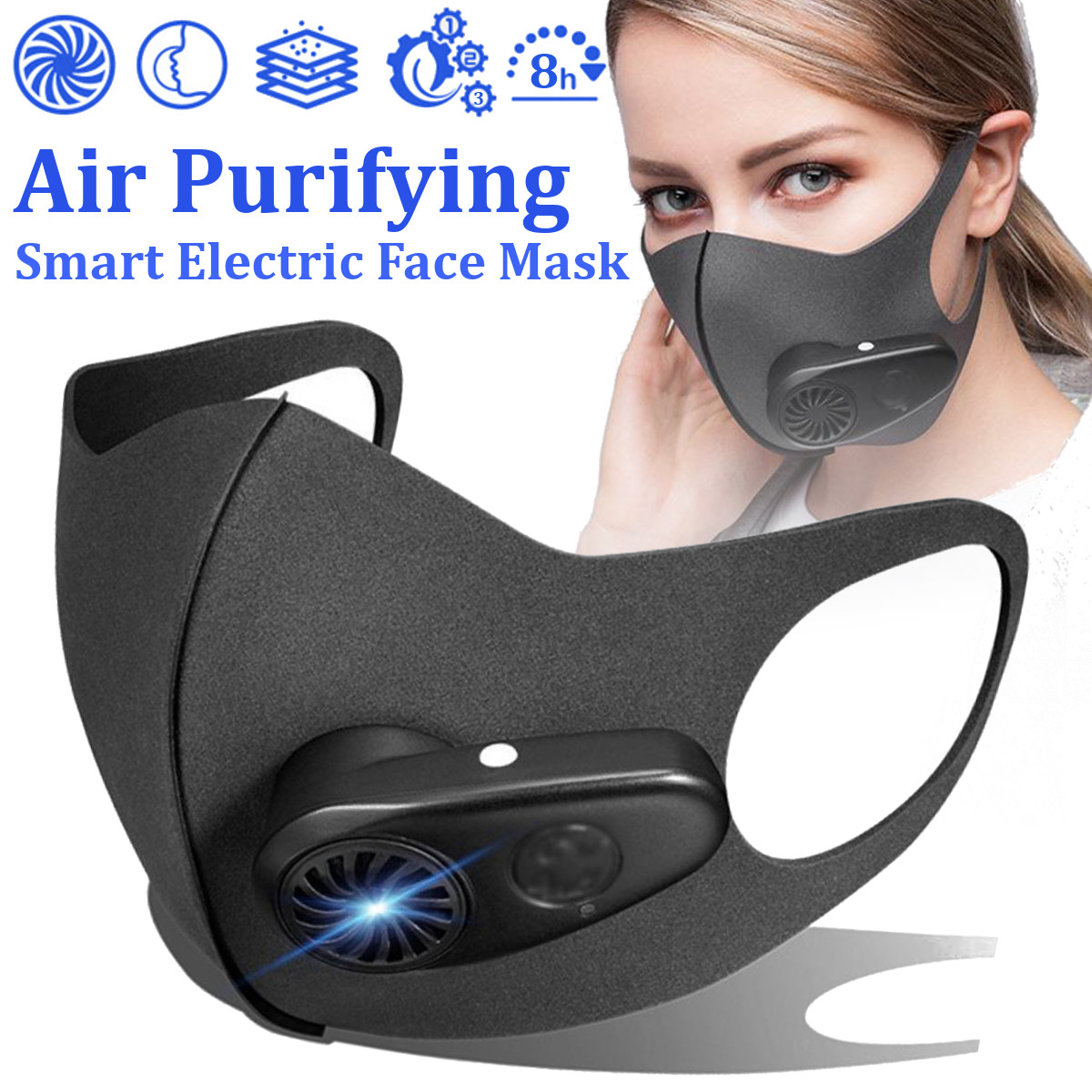 Smart Electric Face Mask Air Purifying Anti Dust Pollution Fresh Air Supply Pm2.5 With Breathing Valve Personal Health Car