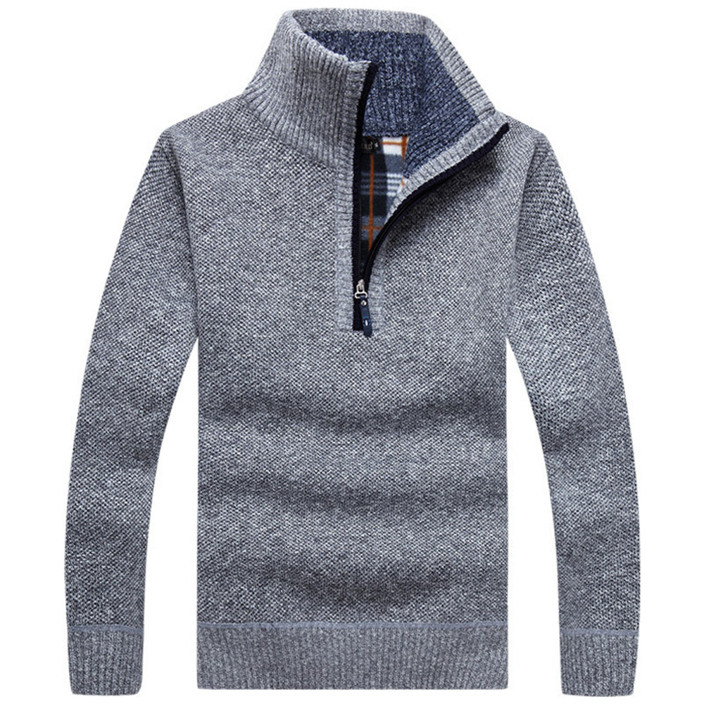 2020 Men's Thick Warm Knitted Pullovers Autumn Solid Long Sleeve Turtleneck Sweaters Half Zip Warm Fleece Winter Comfy Coat Male