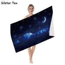 Silstar Tex 3D Close To Galaxy Microfibre Beach Towel Beautiful Bath Towels Moon Night Cloth Travels Seaside Mat