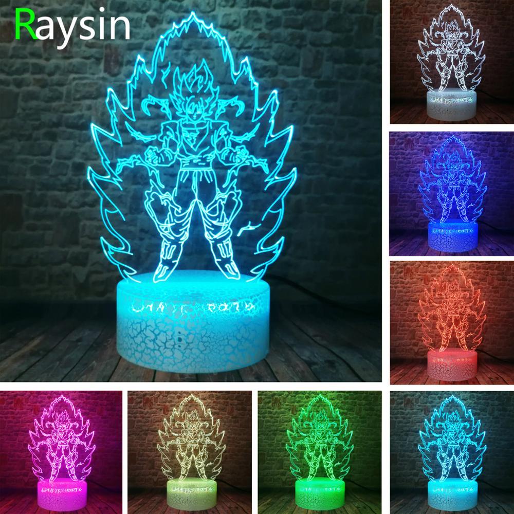 Dragon Ball Z Super Saiyan God Goku Action Figures Smart 3D Table Lamp 7 Colors Change LED Night Light Baby Kids Toys Xmas Gifts