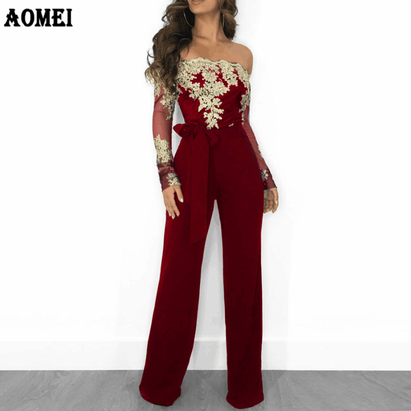 Women Overalls Jumpsuit Autumn Lace Tulle Off Shoulder Slash Neck Gold Embroidery Waistbelt Elegant Femme Office Casual Clothing
