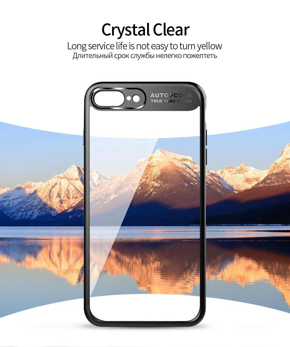 Funda protectora completa delgada de TPU y acrílico transparente PC para iPhone X 7 8 Plus 6s