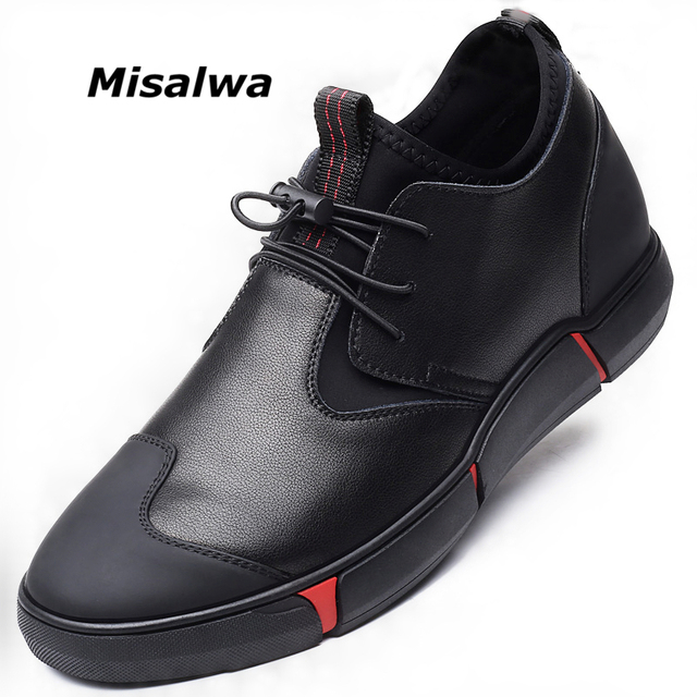 Misalwa 5CM / 7 CM Height Increase Split Leather Men Elevator Shoes Daily Casual Sneaker Fashion Comfortable All match Men Shoes