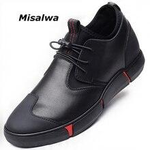 Misalwa 5CM / 7 CM גובה להגדיל פיצול עור גברים מעלית נעלי יומי מקרית Sneaker אופנה נוח התאמה גברים נעליים