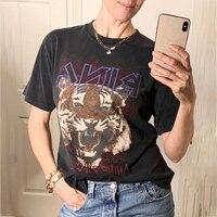 Boho czarna głowa tygrysa koszulki z nadrukami kobiety bawełna z krótkim rękawem O Neck Tshirt koszule nowa moda damska koszulka Casual t-shirty