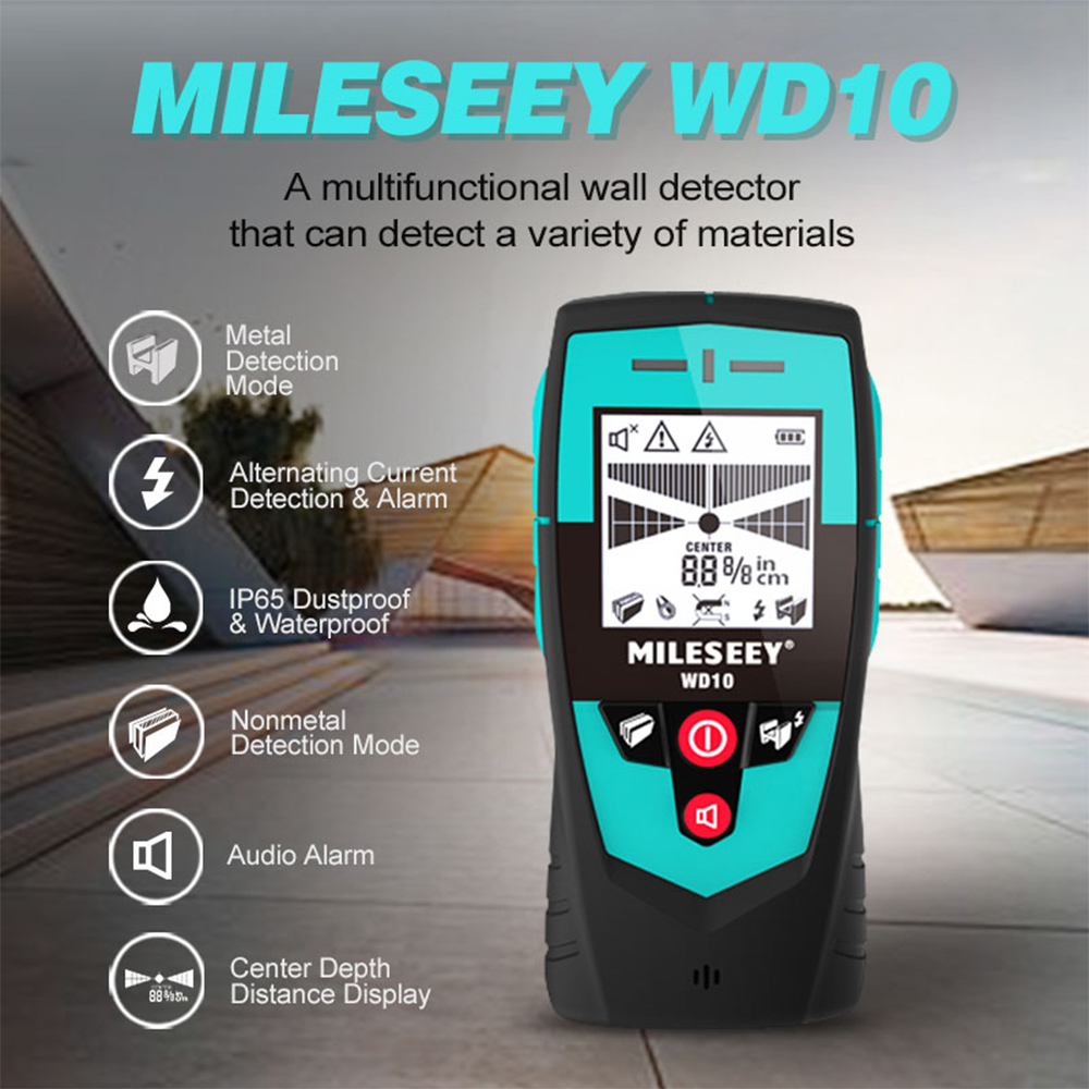 Mileseey Handheld Wall Detector with Large Area Sensor Metal Detector Handheld Stud Finder Wall Scanner Wire Detector