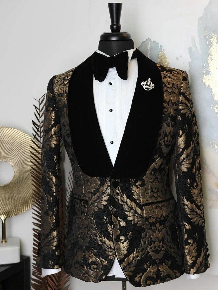2020 Elegant Brand Black Gold Floral Men Suits With Pants Groom Suit Smoking Tuxedo Jacket Wedding Suits For Men Best Man Blazer