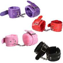 Sexy  Handcuffs Ankle Cuff BDSM Bondage Sex Toy PU Leather Plush Adjustable Restraints Exotic Accessories