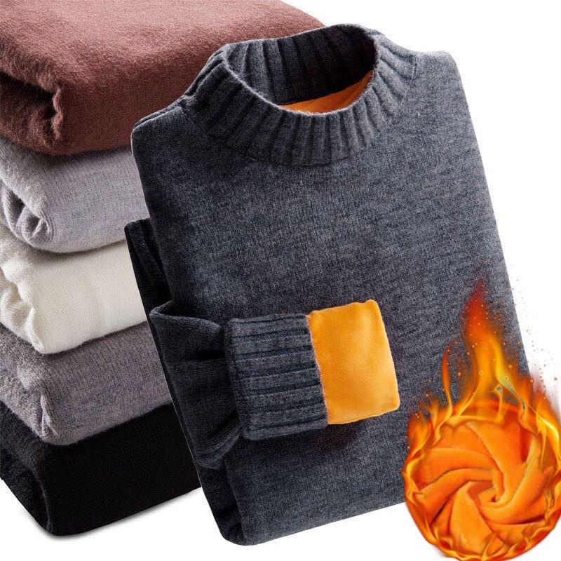 2019 Winter Super Warm Sweater Men's Turtleneck Slim Soft Fleece Pullover Solid Knitted Plus Gold Velvet Thickening Sweater Men