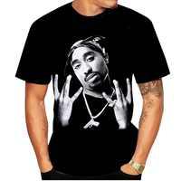 Новинка 2020, футболка Tupac 2pac для мужчин, модная мужская футболка с 3D принтом и круглым вырезом, черная футболка в стиле хип-хоп, летняя футболк...