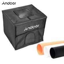 Andoer 60*55*55 см складной фотостудия светодиодный светильник палатка набор софтбоксов w/2 светильник панели 3 цвета фоны адаптер питания сумка