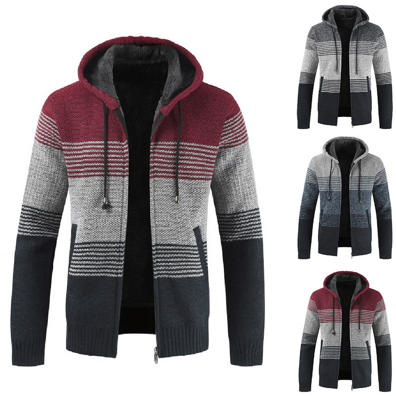 Men's Autumn Winter Warm Sweaters Packwork Hoodie Streetwear Casual Zipper Hooded Cardigan Long Sleeve Thick Wool Male