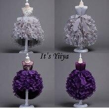 It's Yiya/Платья с цветочным узором для девочек 4 цвета, детское вечернее платье без рукавов со шлейфом Модное пышное платье с круглым вырезом для девочек 816