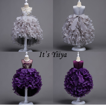 It's YiiYa Flower Girl Dresses 4 Colors Kids Party Sleeveless Court Train Evening Dress Fashion O-Neck Girls Pageant 816 - discount item  37% OFF Wedding Party Dress