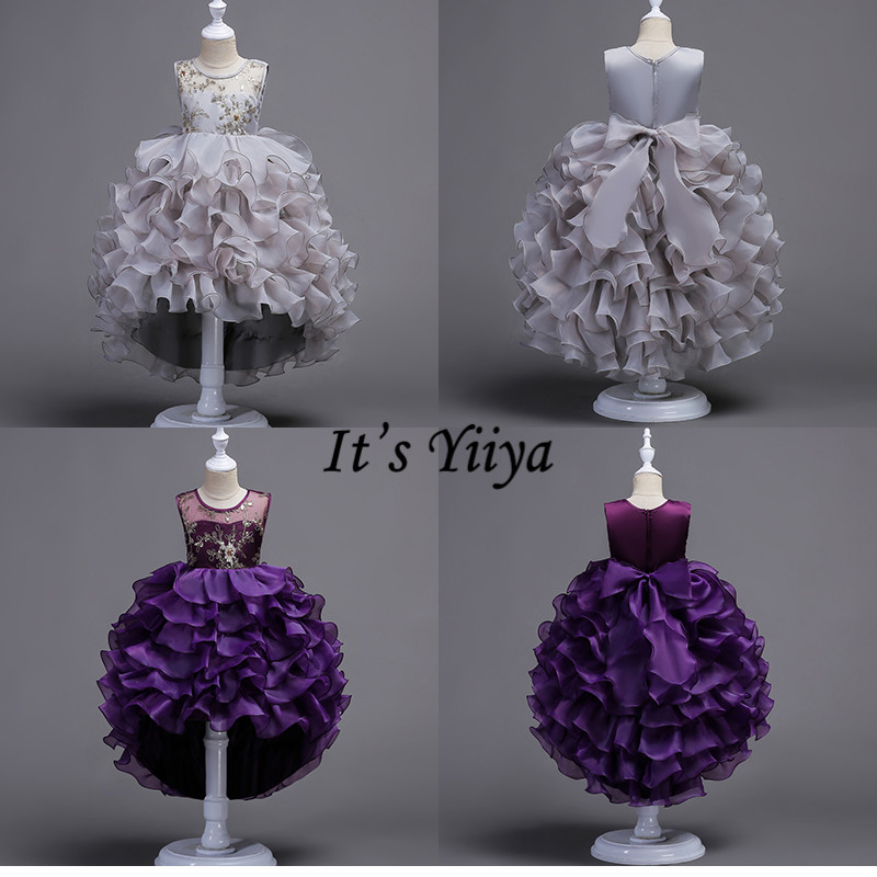 It's YiiYa   Flower     Girl     Dresses   4 Colors Kids Party Sleeveless Court Train Evening   Dress   Fashion O-Neck   Girls   Pageant   Dresses   816