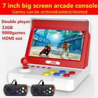 Jxd 7.0 polegada grande tela retro mini arcade console 32 gb embutido 9000 jogo para cp1/cp2/neogeo/gba/gb/snes/nes/sega/bin punho * 2