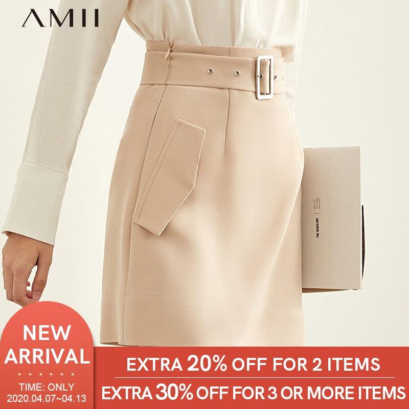 Amii Minimalist Irregular A-line Skirt Autumn Women Casual Solid High Waist With Belt Female Mini Skirt 11930281