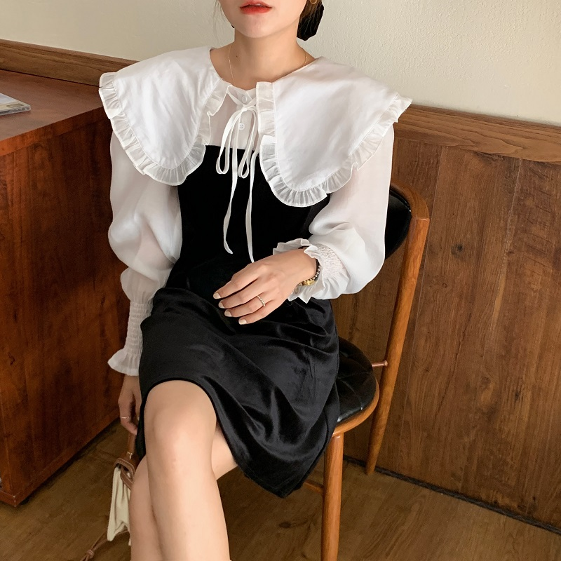Hb34d568f99f840ffa48c76029a0875598 - Autumn / Winter Puritan Collar Long Sleeves Velvet Stitching Dress