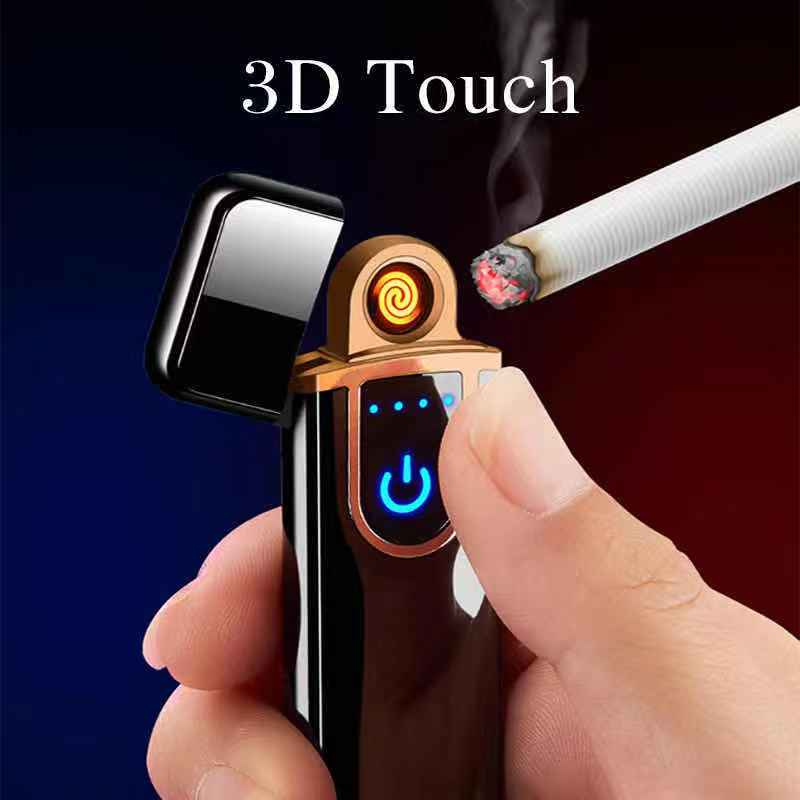 Personalized USB Rechargeable Plastic Lighter Windproof Touch Induction Heating Wire Cigarette Lighter