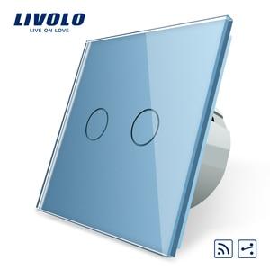 Image 4 - Livolo EU 표준 벽 조명 터치 스위치, 벽 홈 스위치, 크리스탈 유리 스위치 패널, 220 250 V, corss, 조광기, 무선, 커튼