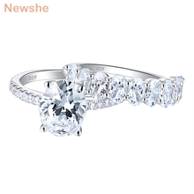 Newshe 2 Pieces 925 Sterling Silver AAA Cubic Zircon Oval Shape Engagement Ring Set Wedding Band For Women Bridal Jewelry BR1098